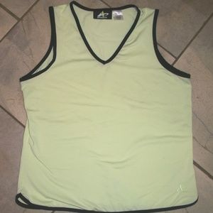 Athletech Light Green V Neck Sleeveless Sports Top